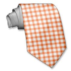 Orange & White Checkered Pattern Tie for Groom