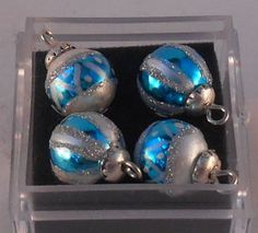 Set of 4 Christmas Ornaments Blue by Maryvonne Herholtz - $28.00 : Swan House Miniatures, Artisan Miniatures for Dollhouses and Roomboxes