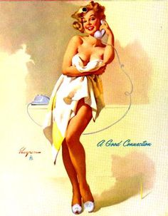 """""""a good connection"""" Gil Evgren from the 1950's many of his models would  become famous..."""