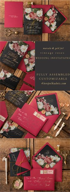 Marsala & Gold foil vintage roses wedding invitation. Fully assembled & completely customizable suit includes invitation card, envelope with liner, RSVP card with envelope, details card and delicate gold twine. Full set from $7,00. Addressing envelopes and beautiful wax seals available to personalize #wedding #vintage