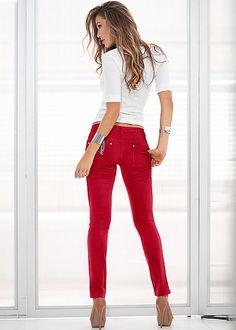 Red hot denim! Venus color skinny jeans with Venus long and lean tee and Venus peep toe ankle strap heel.