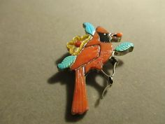 SIGNED A  NATIVE AMERICAN STERLING TURQUOISE & CORAL CARDINAL BROOCH PIN PENDANT