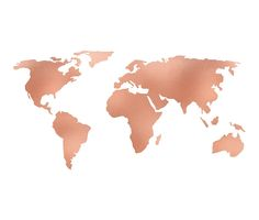 World Map Rose Gold Bronze Copper Metallic