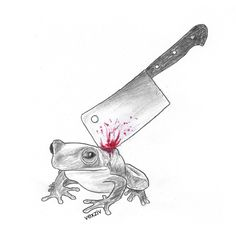 frog #drawing #illustration #sketch #knifes #frog #death