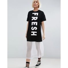 ASOS Fresh T-Shirt Dress With Mesh Hem ($42) ❤ liked on Polyvore featuring dresses, black, print dresses, tee shirt dress, short-sleeve dresses, asos and mesh dress