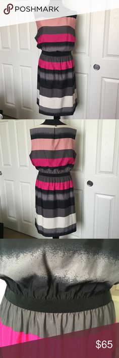 Striped LOFT Dress Cute Striped dress in greys and pinks. Brand new with tags. Keyhole back, and an elasticized waist. Size XXL, from LOFT. Smoke/pet free home. LOFT Dresses