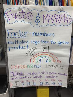 Factors and Multiples anchor chart @Molly Gagliano I like this one better