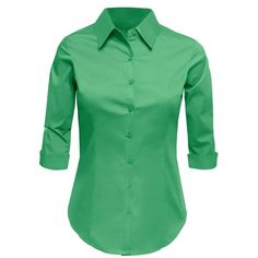 LE3NO Womens Plus Size Roll Up 3/4 Sleeve Button Down Shirt with... ($13) ❤ liked on Polyvore featuring tops, women's plus button down shirts, green button down shirt, plus size womens shirts, plus size green shirt and plus size tops