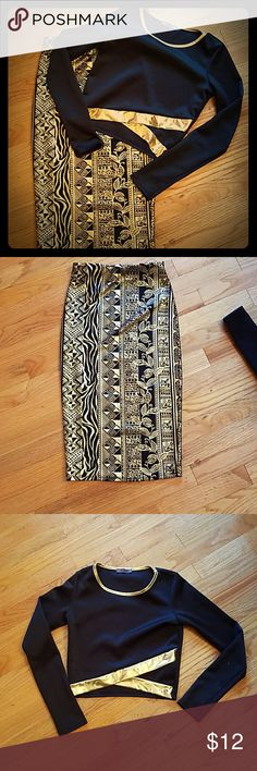 Black and Gold Pencil Skirt and Crop Top Small High Waisted gold and black pencil skirt. Matching black crop top lined with gold trim.  Perfect for girls night out.  Goes great with Black wedges. Joyce Leslie Skirts Skirt Sets