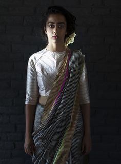 Raw Mango is a brand of contemporary Indian handwoven textiles crafted using traditional techniques. Our saris, fabrics and stoles reflect the skills of the more than 450 craftspeople employed by us. Saree Blouse Patterns, Sari Blouse Designs, Kurta Designs, Blouse Styles, Indian Dresses, Indian Outfits, Indian Clothes, Raw Mango Sarees, Formal Saree
