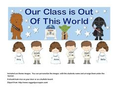 "What a wonderful way to greet your new class. This Back-to-School product includes a banner with the fun theme of, ""Our Class is Out of This World "". Also included are 2 theme images to personalize for your students and arrange them with the banner. . It should look nice on your door or as a bulletin board. (It measures 34x11 inches when assembled.)"