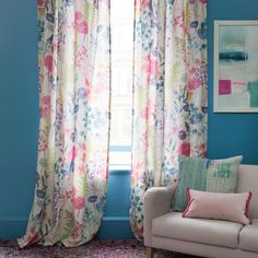 A true colour study for the season, Big Peggy Linen creates a contemporary new floral with jewel teal delphiniums, navy foliage, pops of pink carnations, chalky coral botanicals and fresh chartreuse ferns. Floral Fabric, Linen Fabric, Bluebellgray, Pink Carnations, Color Studies, Modern Prints, Fabric Painting, Textiles, True Colors
