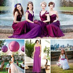 Damas de honor en color #RadiantOrchid #Bridesmaids #dress #Wedding #YUCATANLOVE