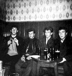 * The Beatles! * Paul, Pete Best, George, John. The Grapes. Mathew Street. Liverpool. 1961.