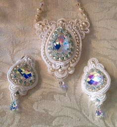 """Free Shipping in the U.S. through January 3 2015  by FrenchMermaid - """"Crystal"""": Swarovski vitrail crystal focals, Swarovski® pearls and crystals, Toho glass seed beads, Irish Soutache, ultra suede. $326.00"""