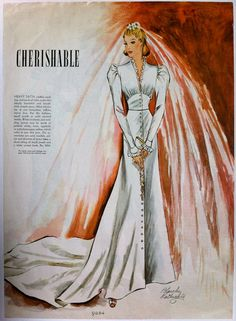 1930s Blanche Rothschild illustration of a bridal gown, McCall 9284 circa June 1937