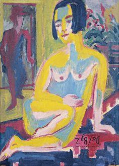 Desnudo femenino sentado. Estudio (reverso) - Ernst Ludwig Kirchner | Museo Thyssen