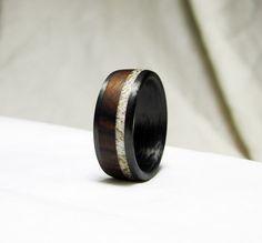 Carbon Fiber Ring - Ironwood and Deer Antler