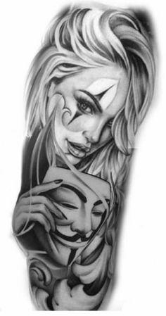 Portrait Tattoo Sleeve, Chicano Tattoos Sleeve, Chicano Style Tattoo, Half Sleeve Tattoos Drawings, Girls With Sleeve Tattoos, Body Art Tattoos, Girl Tattoos, Medusa Tattoo Design, Tattoo Design Drawings