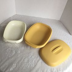 Vintage Tupperware Harvest Gold Rice and Vegetable Steamer by vintagepoetic on Etsy