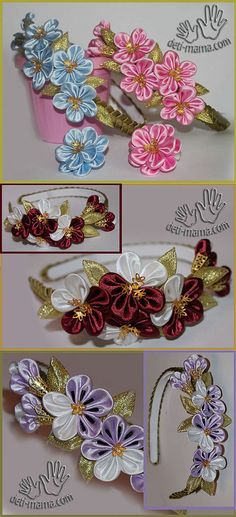 Headbands hair with his hands. Forget-me-rim Diy Lace Ribbon Flowers, Cloth Flowers, Kanzashi Flowers, Ribbon Art, Leather Flowers, Felt Flowers, Fabric Flowers, Ribbon Braids, Ribbon Headbands