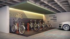 No Cine Teatro Presidente, as bicicletas são compartilhadas entre todos os moradores. Foto Reprodução Bicycle Cafe, Bicycle Garage, Parking Design, Signage Design, Monuments, Navigation Design, Bike Room, Garage Entry, Bike Parking