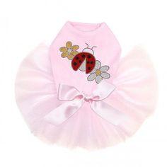 Glitter Ladybug and Daisies Rhinestone Tutu Dog Dress