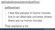 Just actually the scream movie (I think it was) showed people watching a horror movie, so yes they are aware.