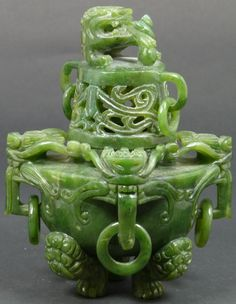 CHINESE HAND CARVED JADE DRAGONS CENSOR