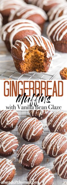 This fun twist on the classic takes hard boring gingerbread and turns it into a delightful gingerbread muffins with vanilla bean glaze Pure magic via aheadofthyme Muffin Recipes, Brunch Recipes, Breakfast Recipes, Dessert Recipes, Fun Baking Recipes, Holiday Baking, Christmas Baking, Christmas Holidays, Cupcakes