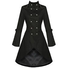 WOMENS LADIES NEW BLACK GOTHIC STEAMPUNK MILITARY COTTON COAT JACKET