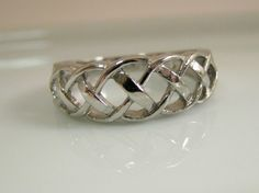 Irish Celtic Knot Ring White Gold Plated over by 360JewelsElite