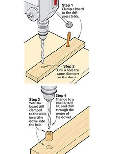 Drill dead-center holes in dowels