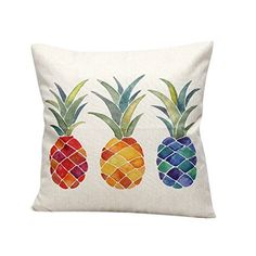 "Monkeysell Stylish Colorful cartoon Pineapple hand-painted figure linen quare Decorative Fashion Throw Pillow Cover -18""X18"" (S038A2)"