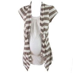 Cream and Tan Cardigan by Annabelle Maternity - Maternity Clothing - Flybelly Maternity Clothing $24