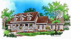 Country House Plan with 2606 Square Feet and 4 Bedrooms from Dream Home Source | House Plan Code DHSW01543