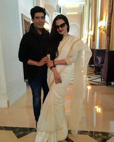 "15.5k Likes, 103 Comments - Manish Malhotra (@manishmalhotra05) on Instagram: ""#DELHI #legendary #beautiful#stunning #rekha #ivory #saree #handloom looking #great as #always"""