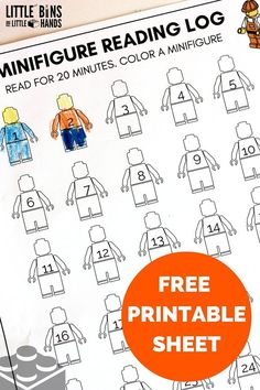 MINI FIGURE PRINTABLE READING LOG FOR KIDS - Looking for a way to encourage literacy in your kids? Try this fun reading log!