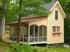 Havens South Designs loves this tiny house with screen porch. Love the screened porch, will fit our purposes.
