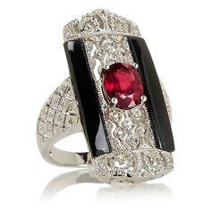 "Rarities Ruby, Black Spineland Diamond ""Art Deco"" Ring"