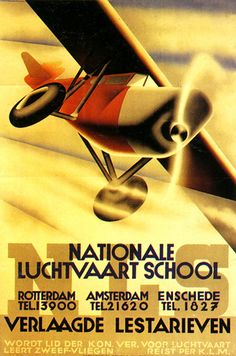 Aviation school poster, Netherlands, 1933.