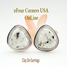 White Buffalo Turquoise Sterling Clip On Earrings Four Corners USA Online Navajo Jewelry NAER-1467, $179.00 (http://stores.fourcornersusaonline.com/white-buffalo-turquoise-sterling-clip-on-earrings-navajo-artisan-lucy-valencia-jewelry-naer-1467/)