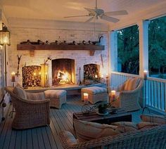 Back Porch Fireplace- this wold be perfect for my future house in North Carolina! Future House, Style At Home, Outdoor Rooms, Outdoor Living, Indoor Outdoor, Outdoor Seating, Outdoor Patios, Outdoor Lounge, Outdoor Retreat