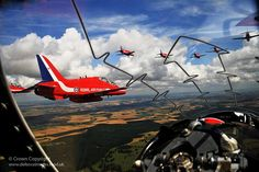 The Red Arrows are pictured flying over Scotland, taken from the cockpit of one of their aircraft. Fixed Wing Aircraft, New Aircraft, Military Aircraft, Raf Red Arrows, Airplane Crafts, Jet Engine, Army & Navy, Jet Plane, Royal Air Force