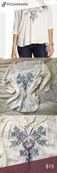 embroidered peasant top this gorgeous too is perfect for fall. pair with your favorite jeans and boots for a chic look. cotton/poly blend. there is some minor cream/white discoloration shown in 4th picture, not noticeable when worn. reflected in price Forgotten Grace Tops Blouses