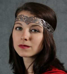 Nouveau Deco leather head wreath in silver by TomBanwell on Etsy, $29.00