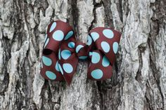 brown and blue polka dot boutique hair bow  baby girl  thebugandbee.etsy.com