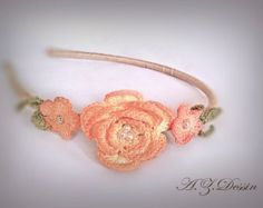 Crochet flower headband.100% handmade.Hair accessories.Yellowish orange Vintage hair flowers by ezdessin. Explore more products on http://ezdessin.etsy.com