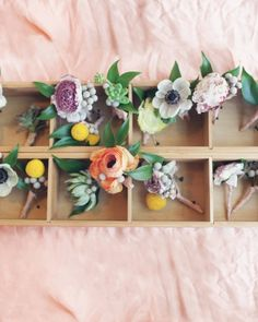 Have your groomsmen wear brightly colored boutonnieres in different blooms