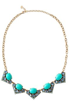 Style with an art deco inspired blue epoxy stone necklace on a vintage gold chain. Find fashion necklaces, trendy necklaces, pendants & more at Stella & Dot.
